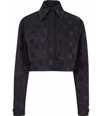 fendi fendi logo print back-bow denim jacket