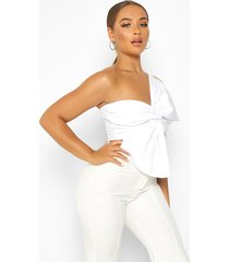 asymetric twist bow detail crop top, white