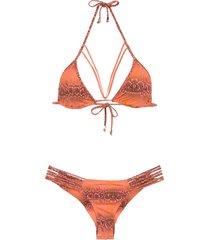 amir slama printed triangle top bikini set - yellow