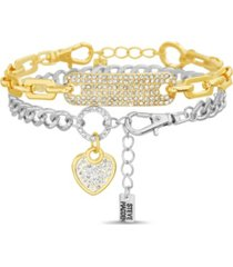 women's 2 piece mixed plated chunky chain bracelet set