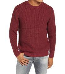 men's liverpool shaker stitch crewneck sweater, size large - burgundy