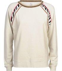 summum 3s4396-30145 723 sweater fabric mix long slv white sand
