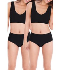 women's belly bandit mother tucker 2-pack leak-resistant smoothing panties, size x-large - black