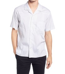 blanknyc men's happy to see me slim fit stretch short sleeve button-up shirt, size x-large in white/grey at nordstrom