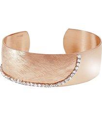 bracciale bangle small in bronzo dorato rosé e cristalli per donna