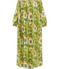 julie off-the-shoulder floral-print cotton dress