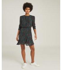 reiss renee - printed mini dress in green, womens, size 14