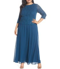 plus size women's alex evenings mock two-piece a-line gown, size 22w - blue/green