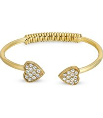 2028 14k gold-dipped pave crystal heart coil spring c-cuff bracelet