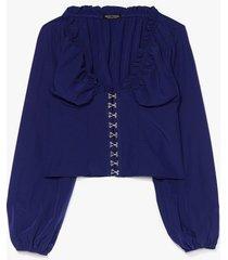 hook & eye detail blouse - blue