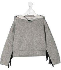 monnalisa faux leather fringed hoodie - grey