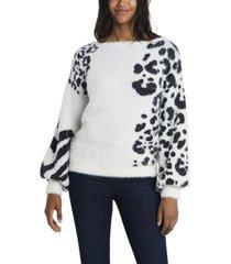 vince camuto women's petite zebra jacquard eyelash knit sweater