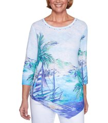alfred dunner petite costa rica printed studded top