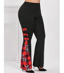 bowknot plaid elk christmas plus size flare pants