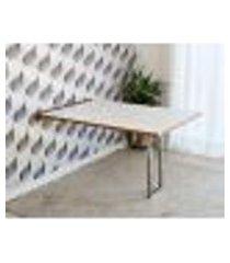 mesa dobrável retrátil de parede 140x89 - base inox branco/noronha