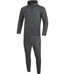 jako joggingpak met sweaterkap premium basics m9629-21 grijs