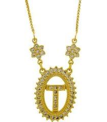 colar horus import letra t zircônia banhado ouro 18k feminino