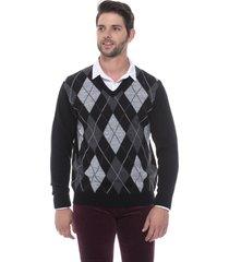 blusa jacquard escocês passion tricot preto