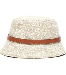 anagram jacquard leather band bucket hat