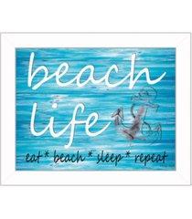 "trendy decor 4u beach life by cindy jacobs, printed wall art, ready to hang, white frame, 18"" x 14"""