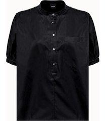 aspesi camicia coreana in cotone nero
