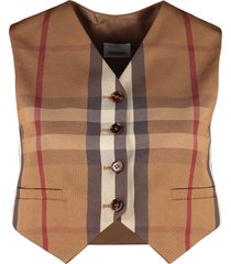 burberry checked mixed cotton waist coat