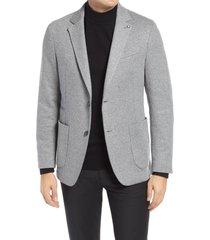 men's bugatchi trim fit stretch sport coat, size small - grey