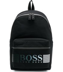 boss hugo boss logo-print zip-up backpack - black