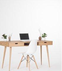 biurko dębowe z szufladami i wneką, prl