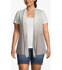 lane bryant women's effortless chic dip-dye short-sleeve cardigan 14/16 gray ombre
