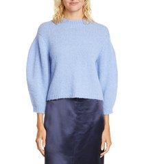 women's tibi cozette alpaca & wool blend crop sweater, size large - blue