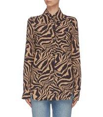 animal print crepe shirt