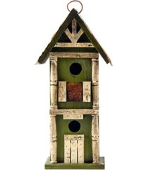 glitzhome hanging two-tiered distressed solid wood birdhouse