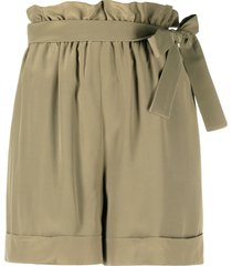 federica tosi green silk shorts with bow