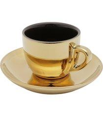 conjunto de 6 xícaras de porcelana wolff para chá com pires preto e dourado versa 220ml