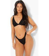 mix & match driehoekige gekreukelde bikini top, black