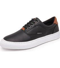 sapatenis calçados gb polo urban em couro de amarrar preto