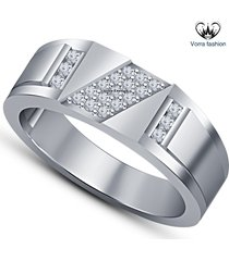 1.22 ct sim diamond round cut white gold palted sterling silver men's band ring