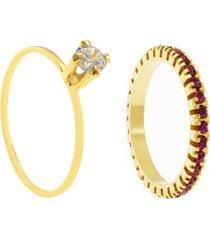 kit 2pçs anel horus import dourado/rosa