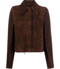 acne studios whipstitch suede jacket - brown