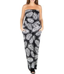 24seven comfort apparel women's plus size palm print jumpsuit