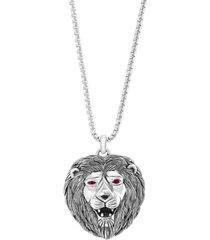 "effy men's ruby (1/4 ct. t.w.) & onyx lion's head 20"" pendant necklace in sterling silver"