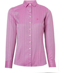 camisa dudalina manga longa cetim maquinetado abotoadura feminina (rosa medio, 46)