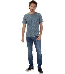 camiseta masculina marmorizada full print azul - azul - masculino - dafiti