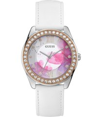 guess women's white leather strap watch 40mm