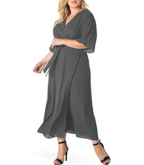 plus size women's standards & practices short sleeve wrap maxi dress, size 1x - grey