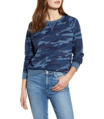 women's lucky brand camo sweatshirt, size medium - blue