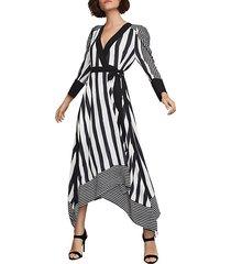 stripe faux wrap dress