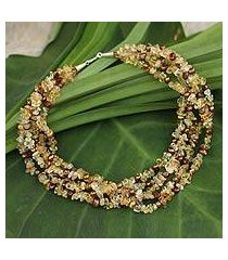 cultured pearl and citrine beaded necklace, 'opulent honey' (thailand)