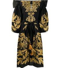 yuliya magdych leaf embroidered tassel detail dress - black